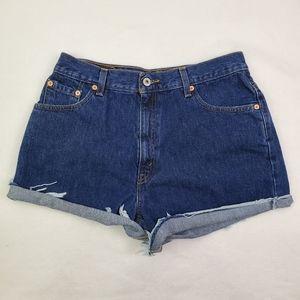 Levi's cut off denim high waist jean shorts